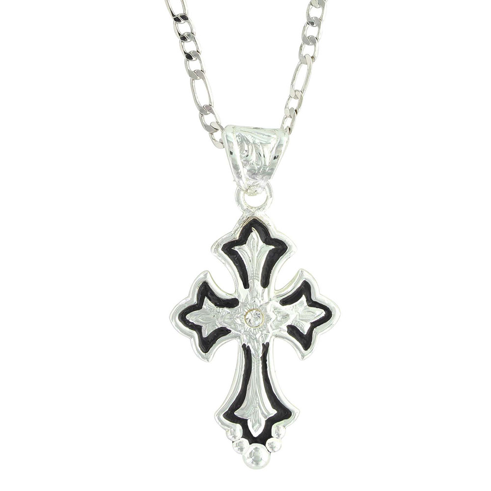 Flower on Silver and Black Cross Fluery