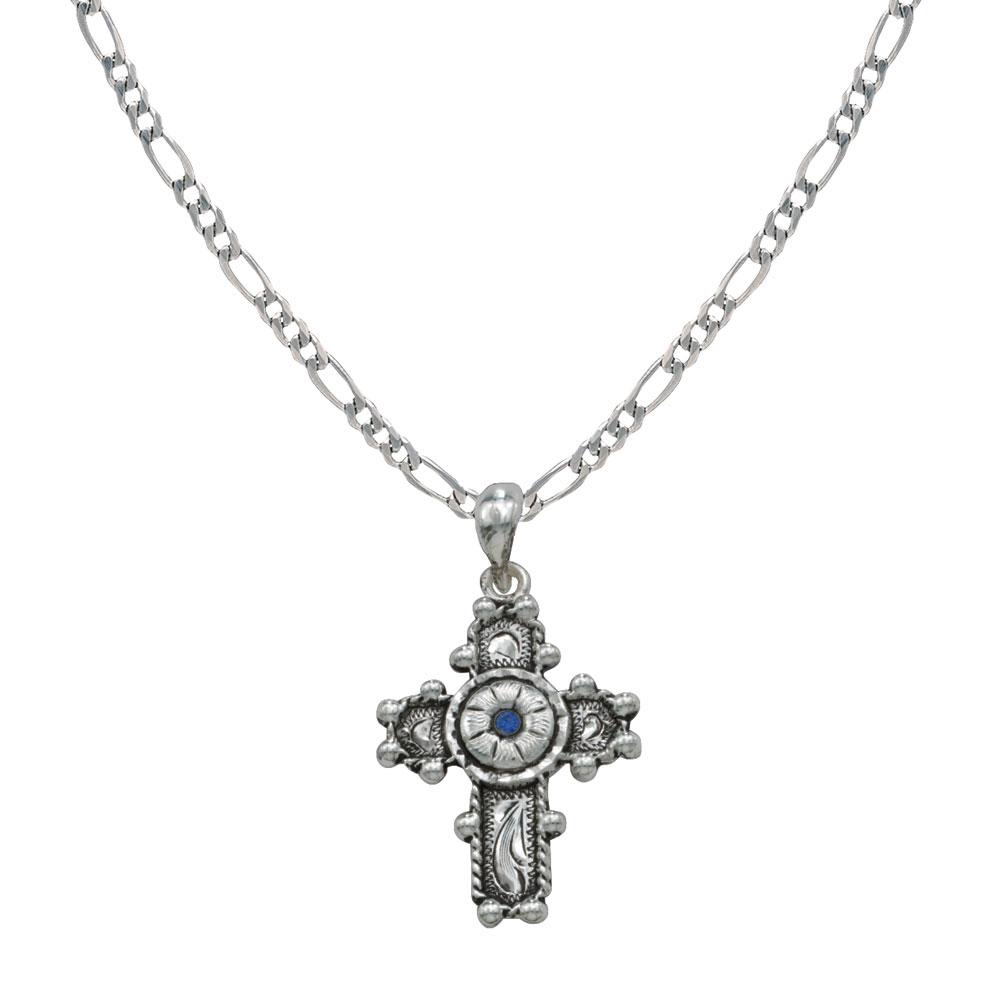 Beaded Cross with Blue Flower