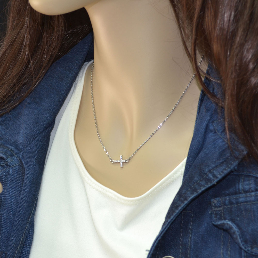 Quiet Faith, Tiny Crystal Cross Choker Necklace