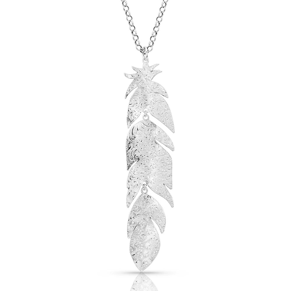 Silver Mystery Feather Necklace