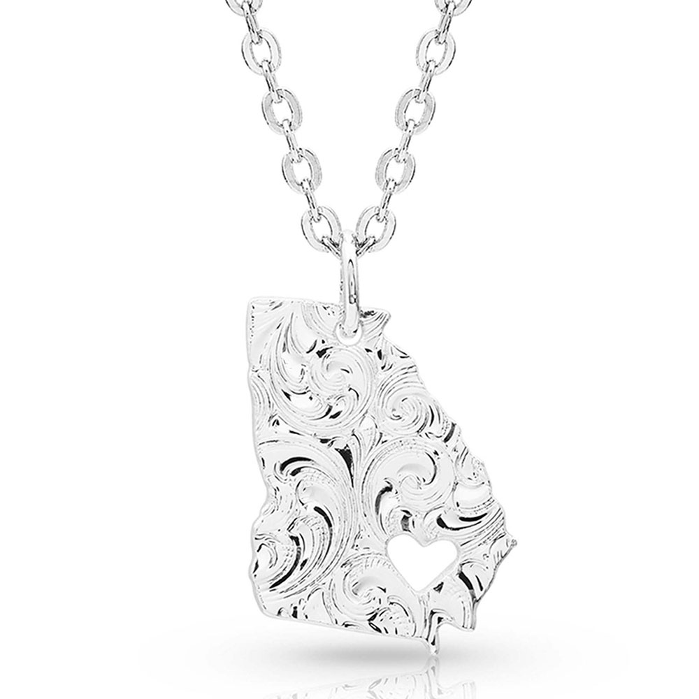 I Heart Georgia State Charm Necklace