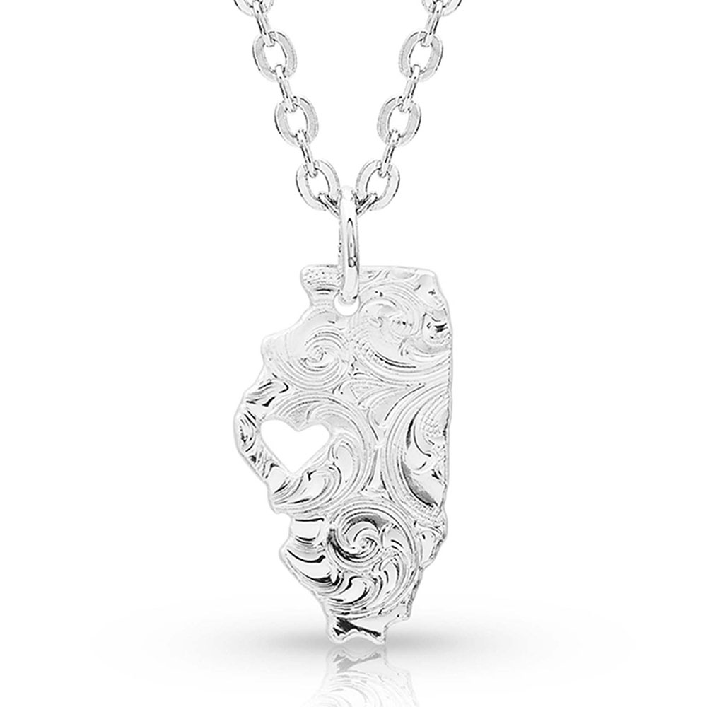 I Heart Illinois State Charm Necklace