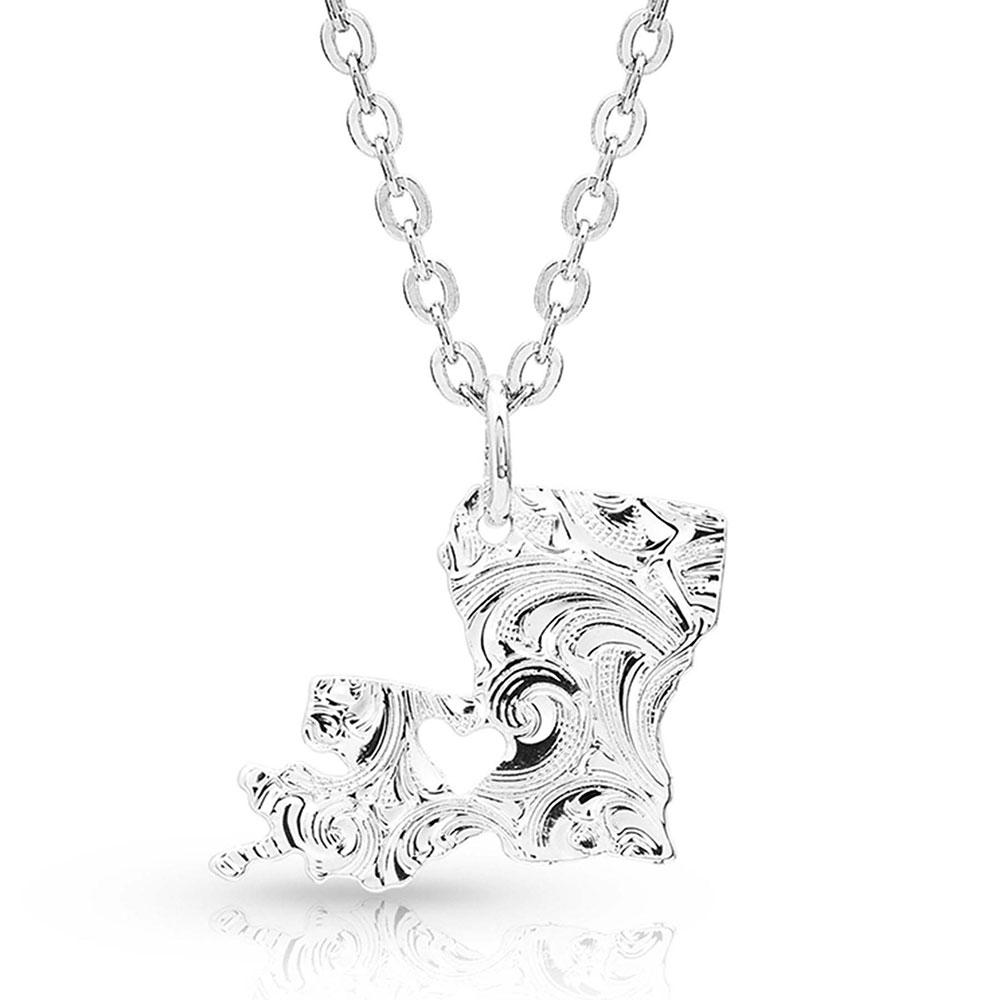 I Heart Louisiana State Charm Necklace