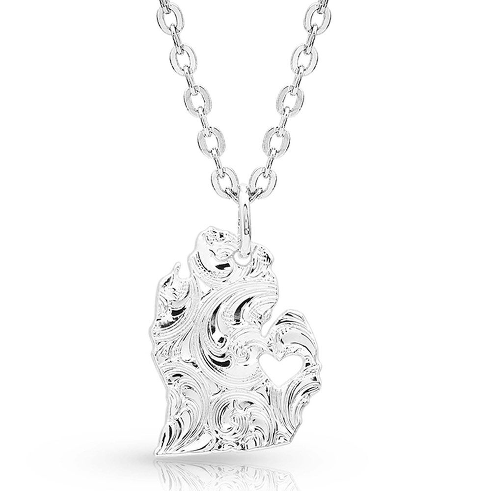 I Heart Michigan State Charm Necklace