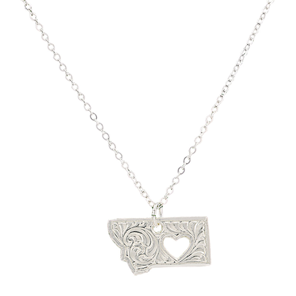 I Heart Montana State Charm Necklace