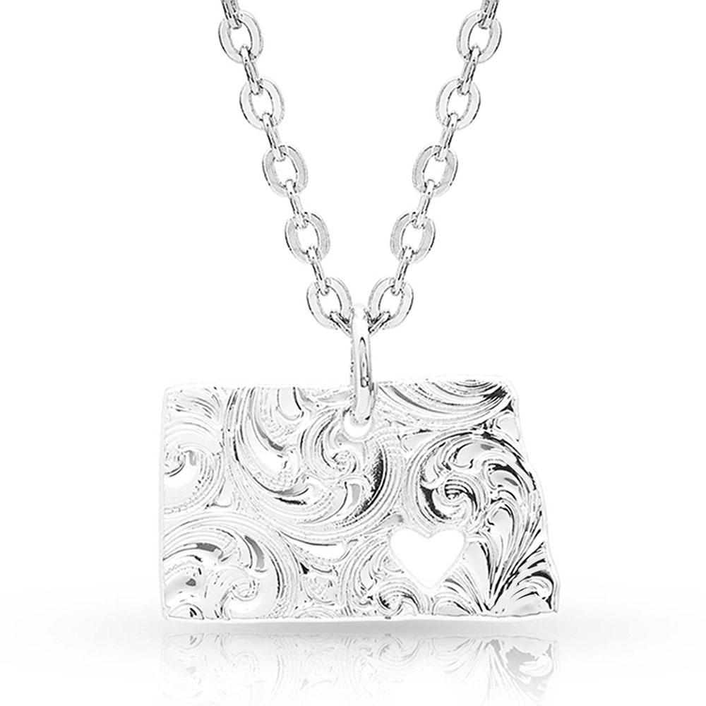 I Heart North Dakota State Charm Necklace
