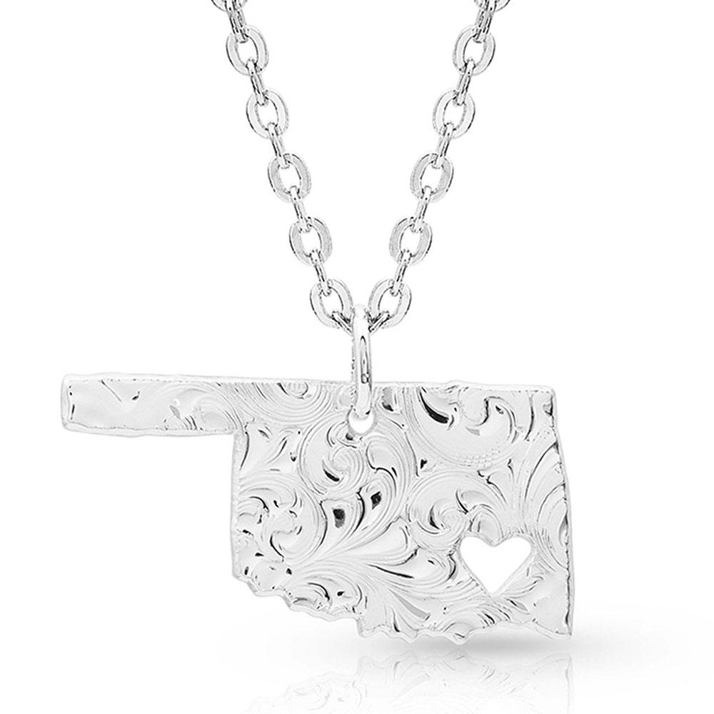I Heart Oklahoma State Charm Necklace