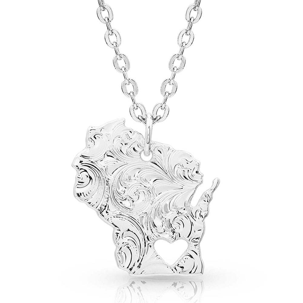 I Heart Wisconsin State Charm Necklace
