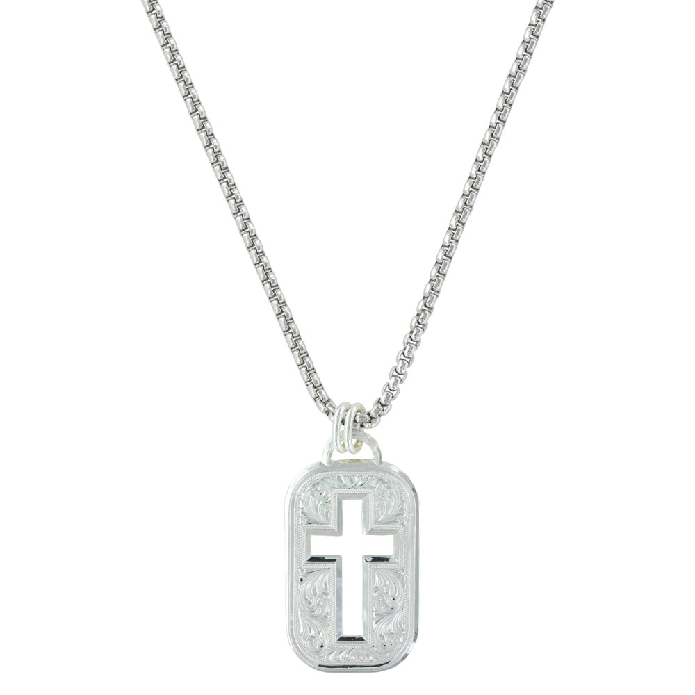 Western Lace Cross Cut Out Token Necklace
