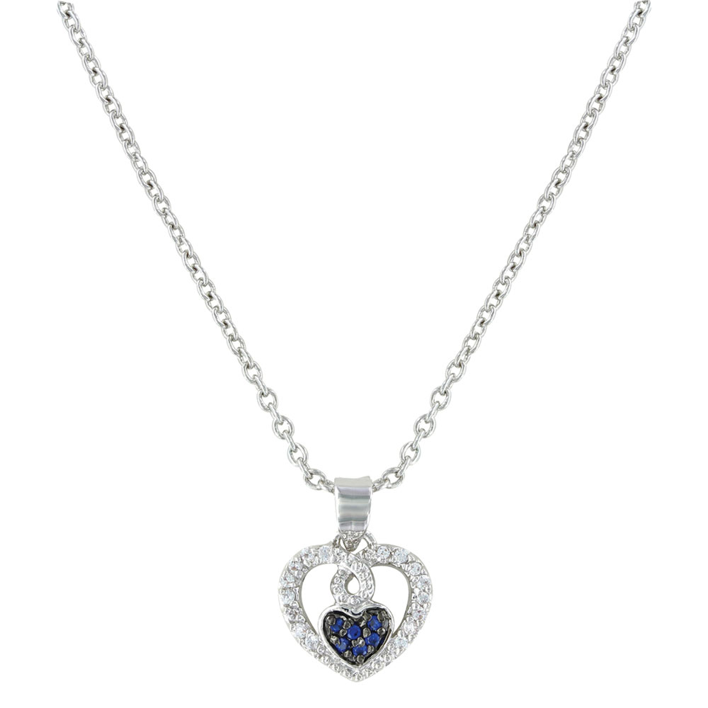 Curlicued Cerulean Heart Necklace
