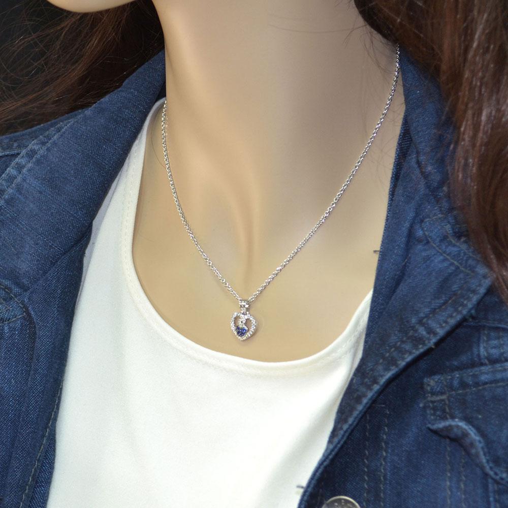 Curlicued Cerulean Heart Necklace