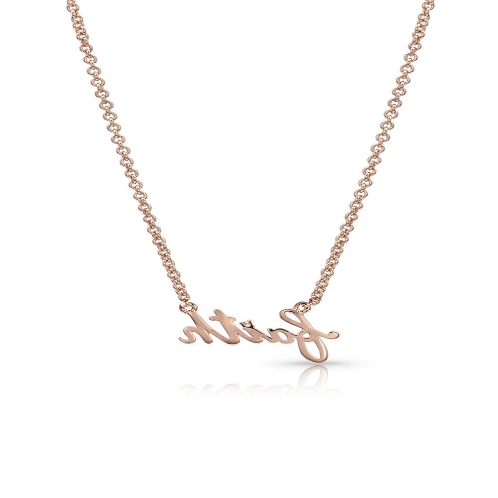 Rose Gold Written Faith Necklace