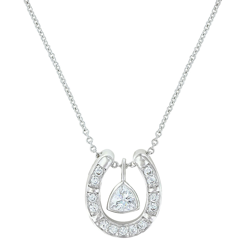Treasured Trillion Sparkling Horseshoe Necklace