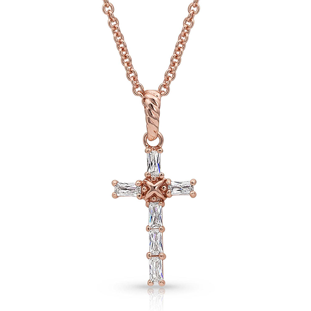 Entwined Rose Gold Brilliant Cross Necklace