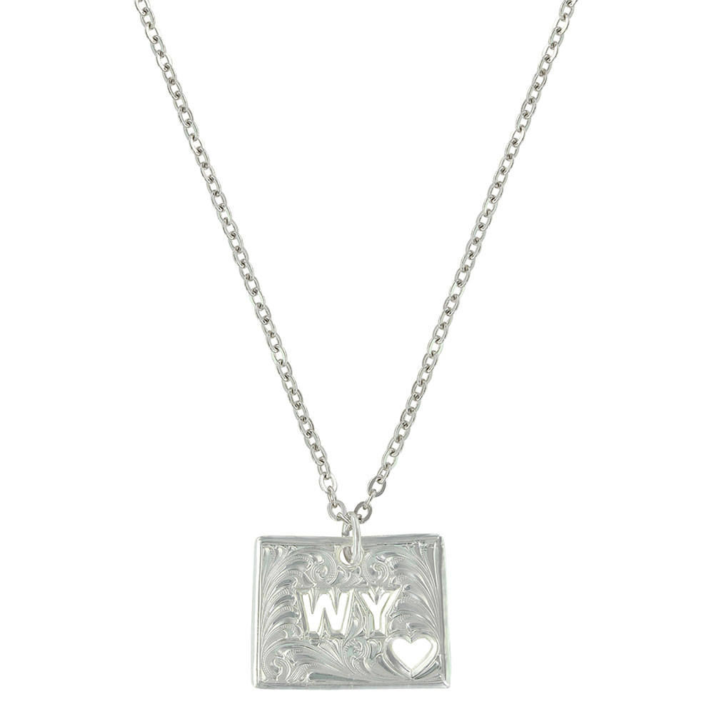 Wyoming Is Where My Heart Is State Necklace