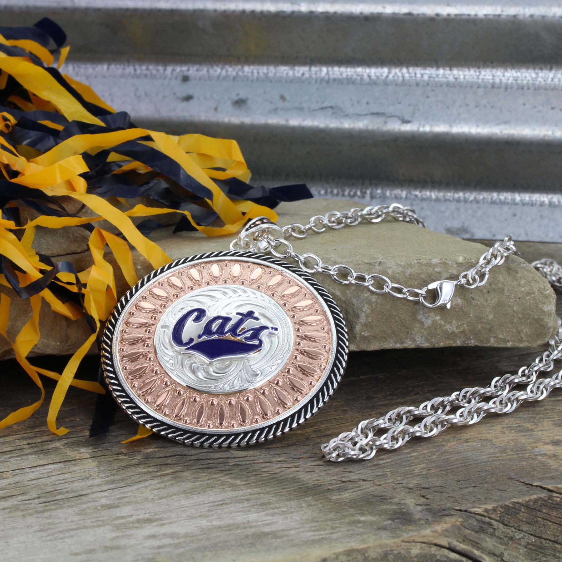 MSU Cats Rose Gold Concho Necklace