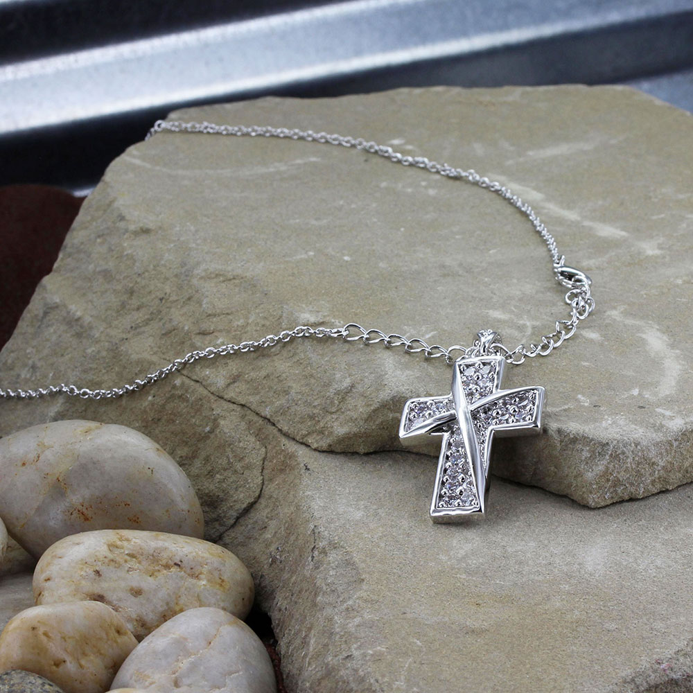 Ribboned Cross Necklace