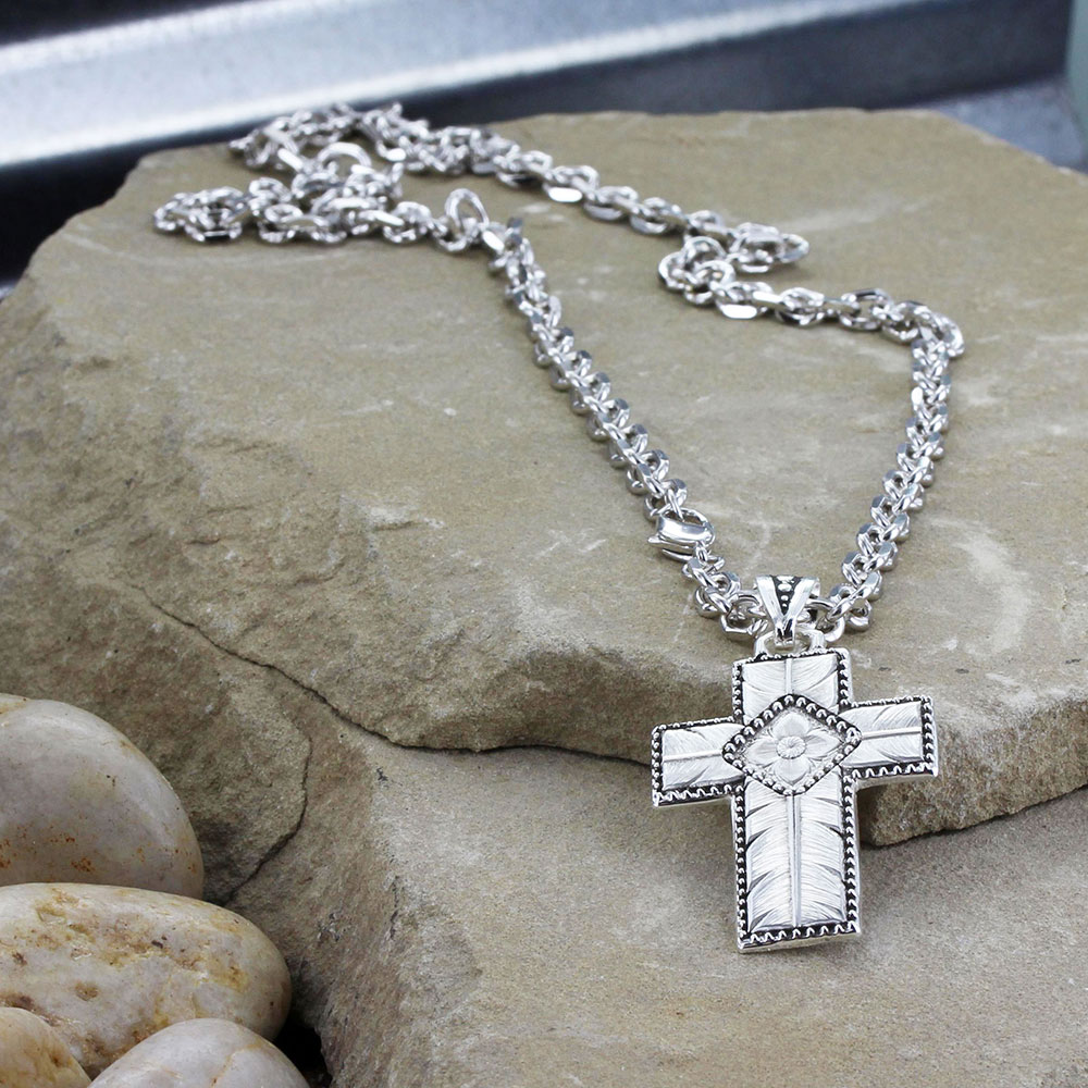 Banded Feathered Cross Necklace