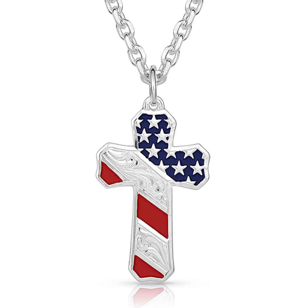 Born In the USA Patriotic Cross Necklace