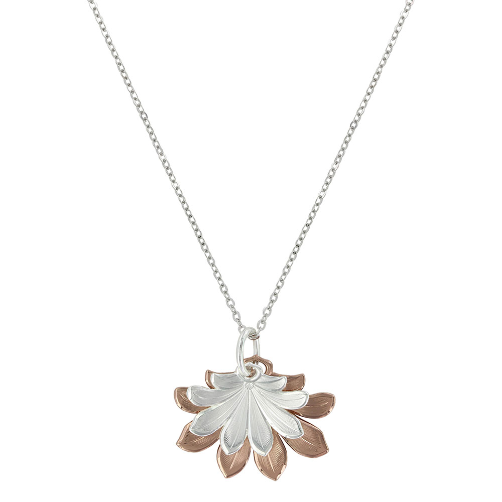 Bitterroot Two Tone Flower Fan Necklace