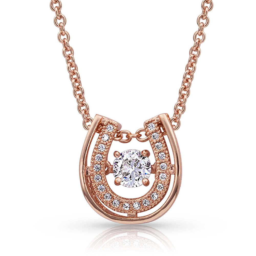 Dancing with Luck Rose Gold Horseshoe Necklace