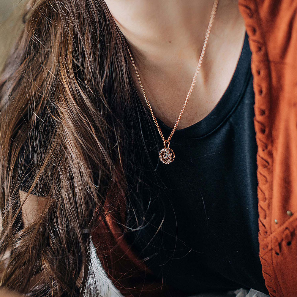 Dancing Rose Gold Halo Circle Necklace