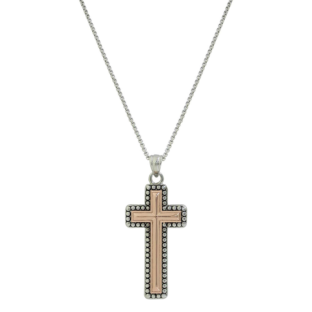 Radiating Rose Gold Cross Necklace