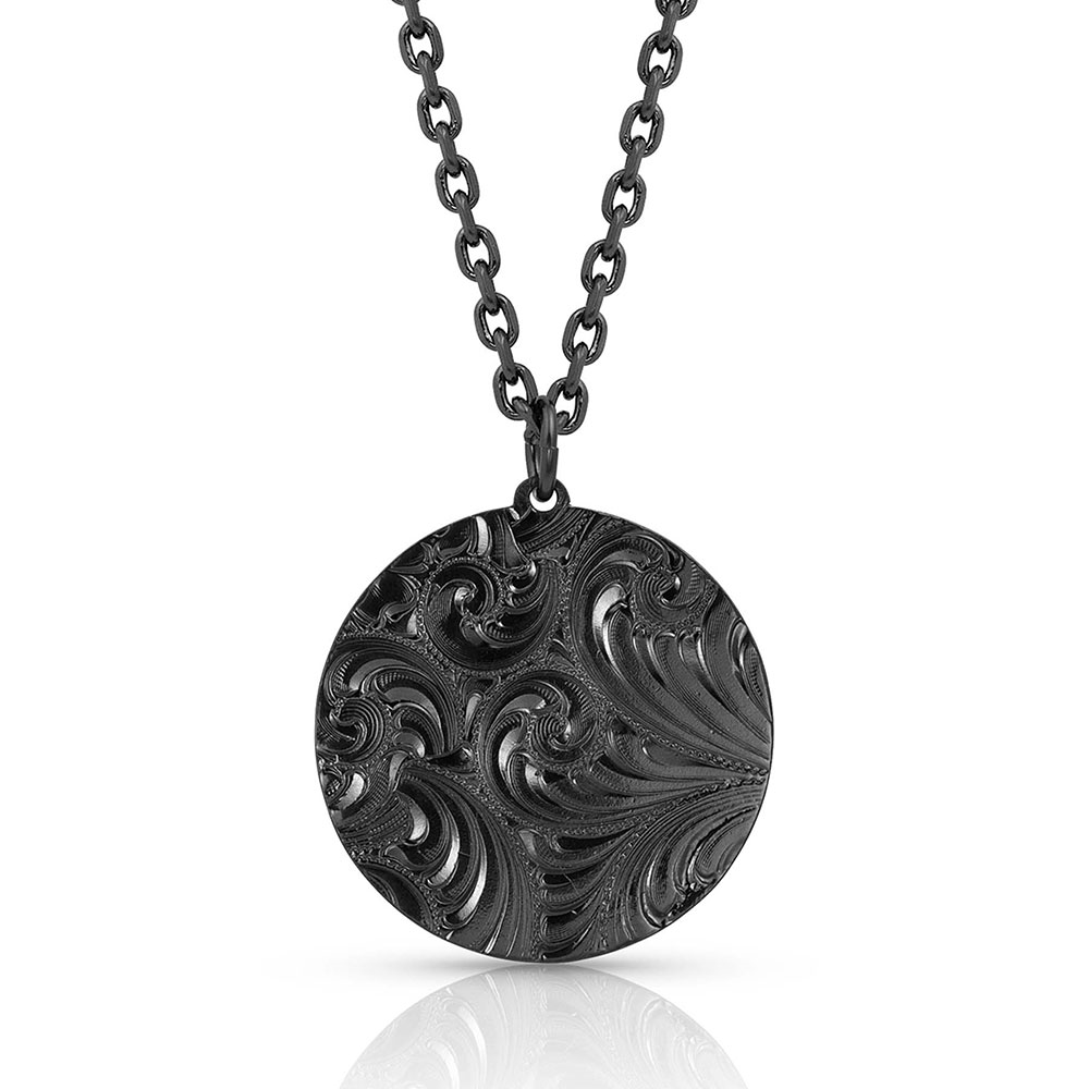 Custom Night Rose Medallion Necklace (1.71