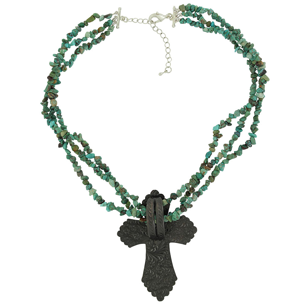 Sign of Faith Vintage Bronze Cross Turquoise Necklace