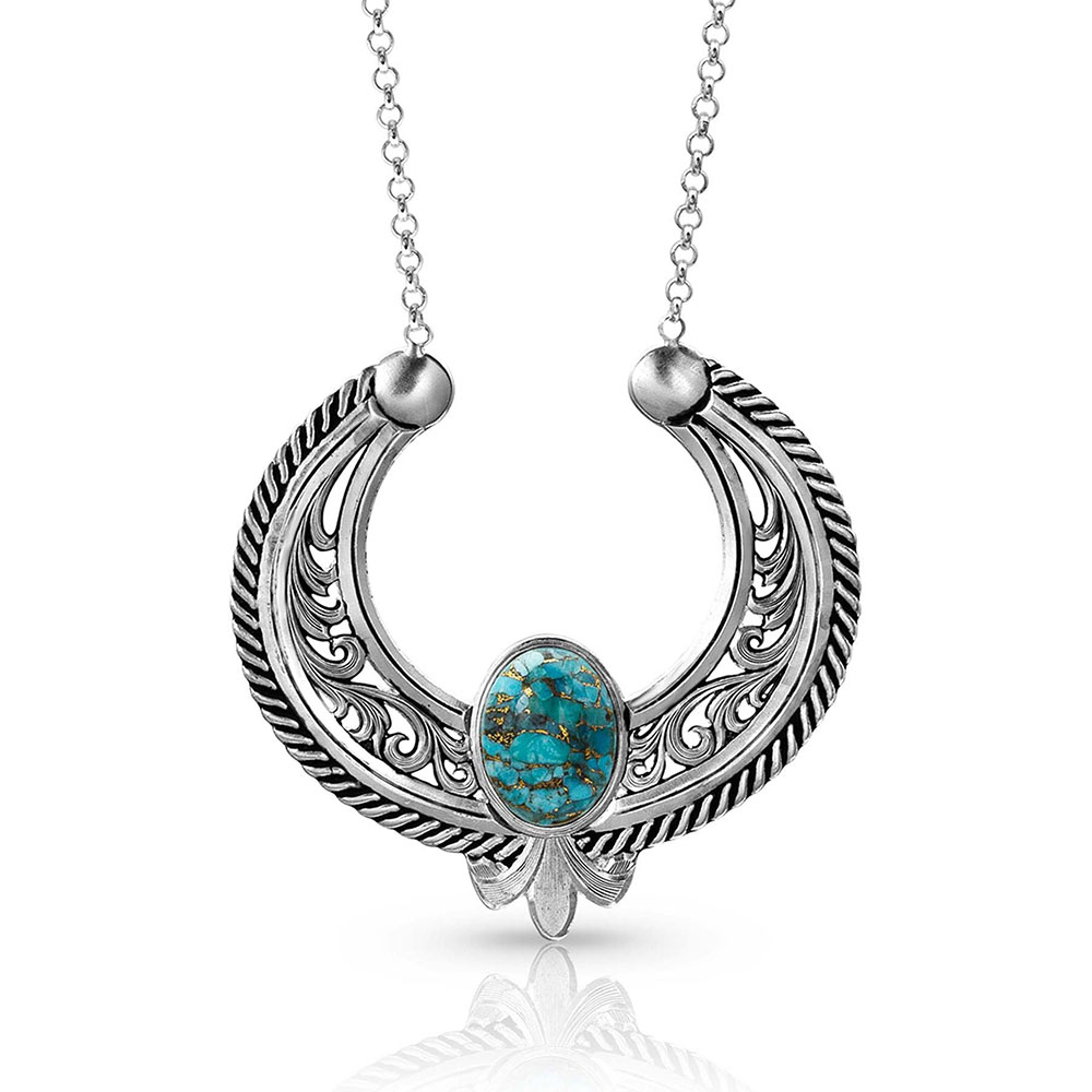 Blue Moon Turquoise Reverse Blossom Necklace