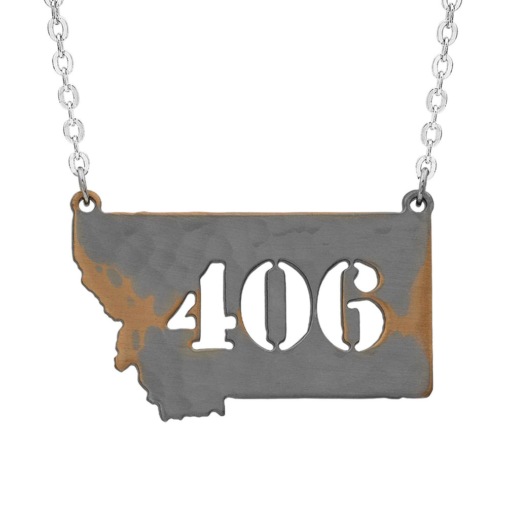 Only Montana 406 Hammered State Necklace