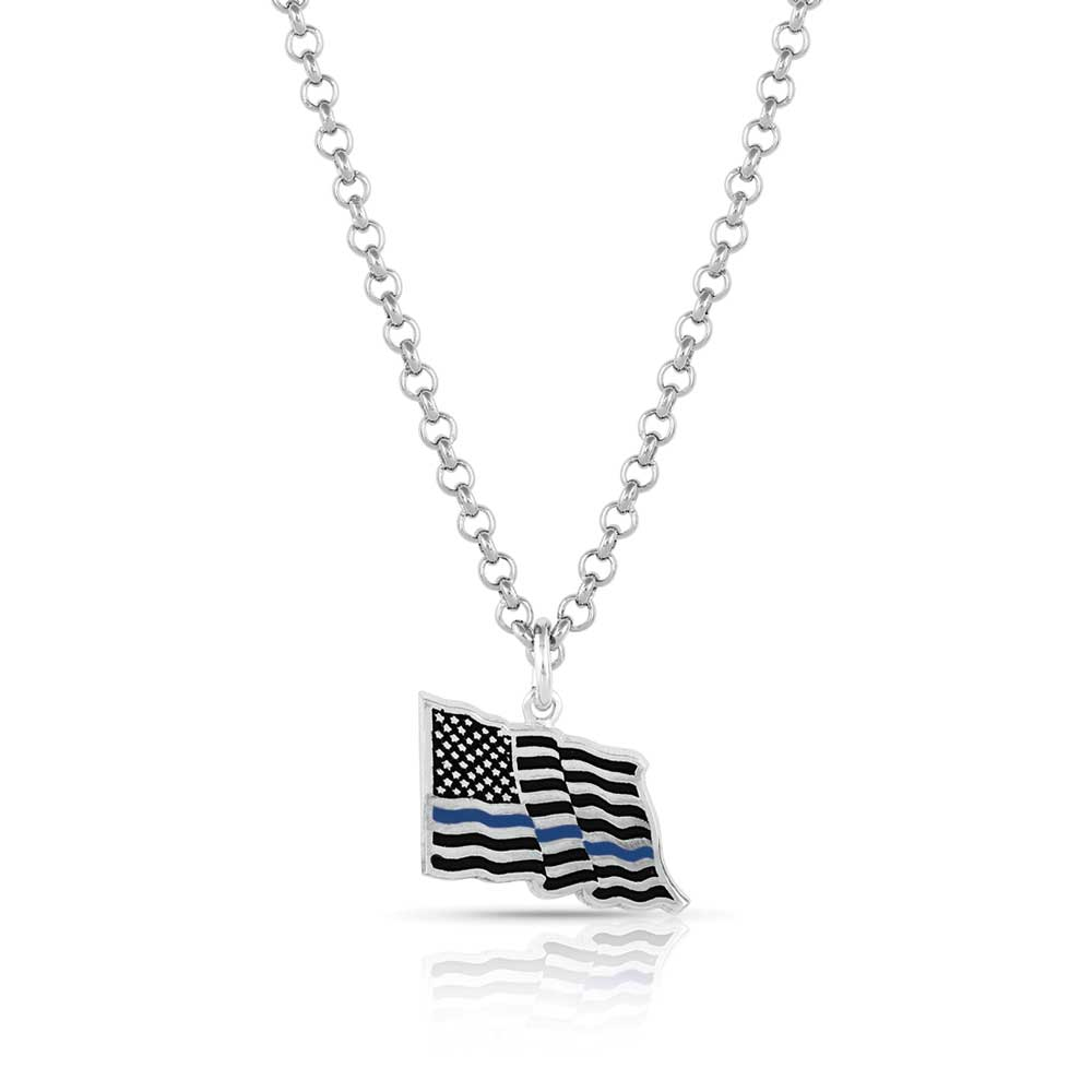 I Stand Behind the Thin Blue Line Flag Necklace
