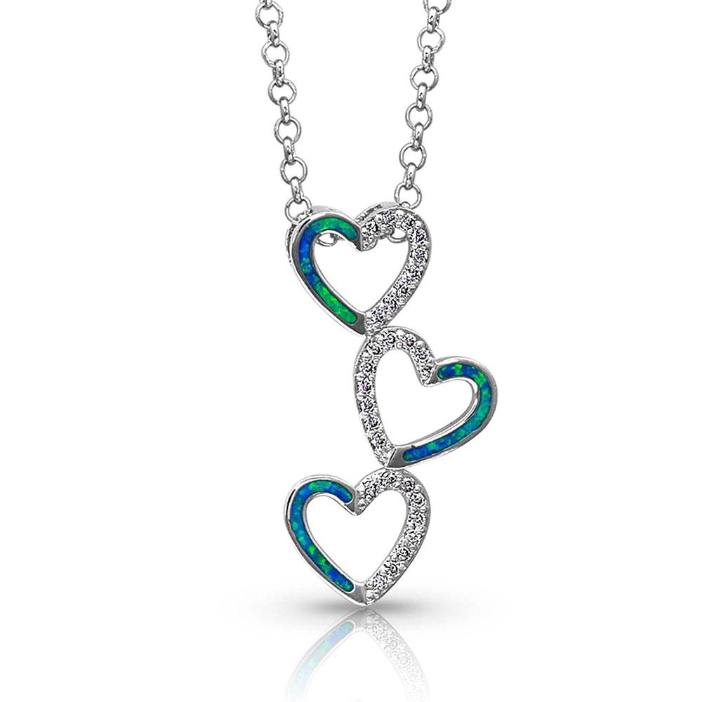 Tilting Trio Heart Necklace