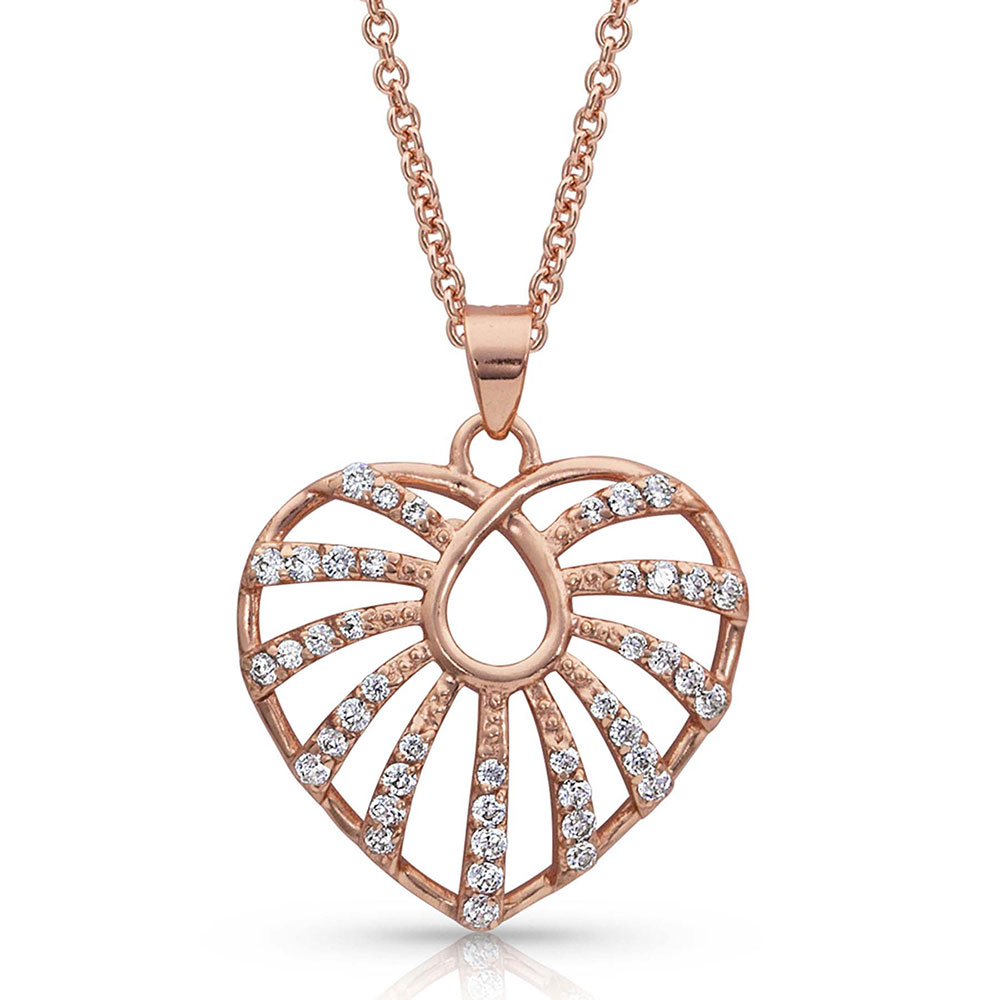 Light Up My Rose Gold Heart Necklace
