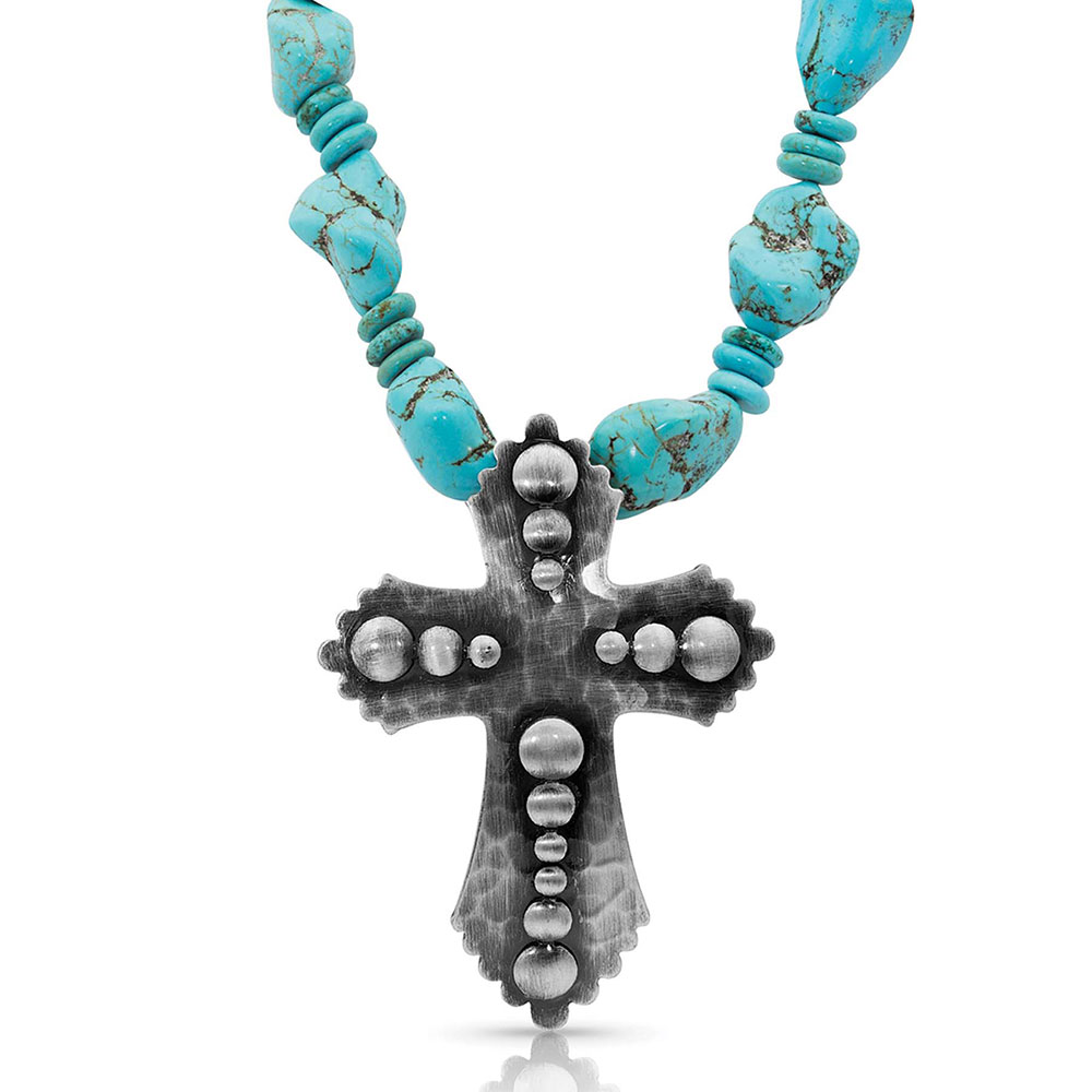 Faith at Midnight Cross Turquoise Necklace