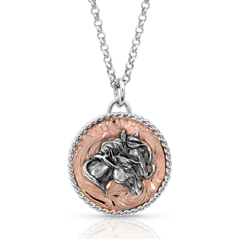 Rose Concho Medallion Necklace with Double Horsehead