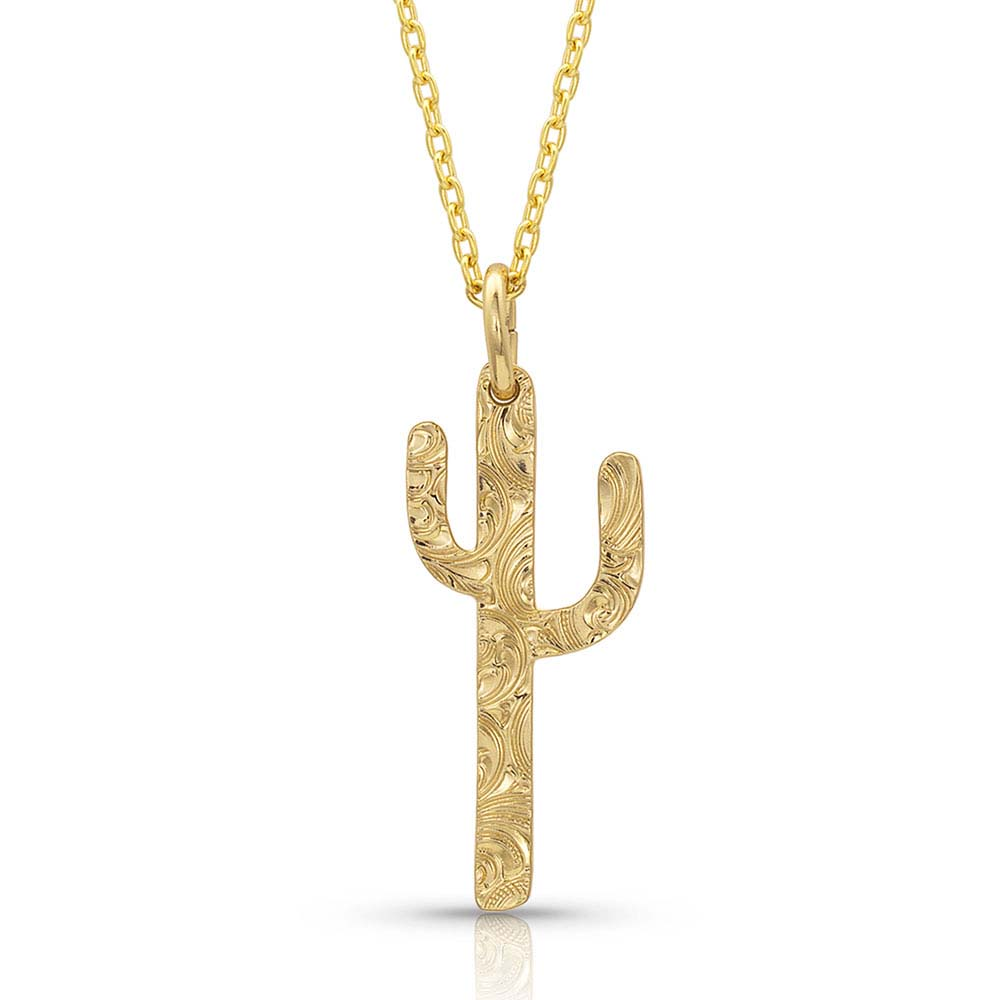 Golden Cactus Necklace