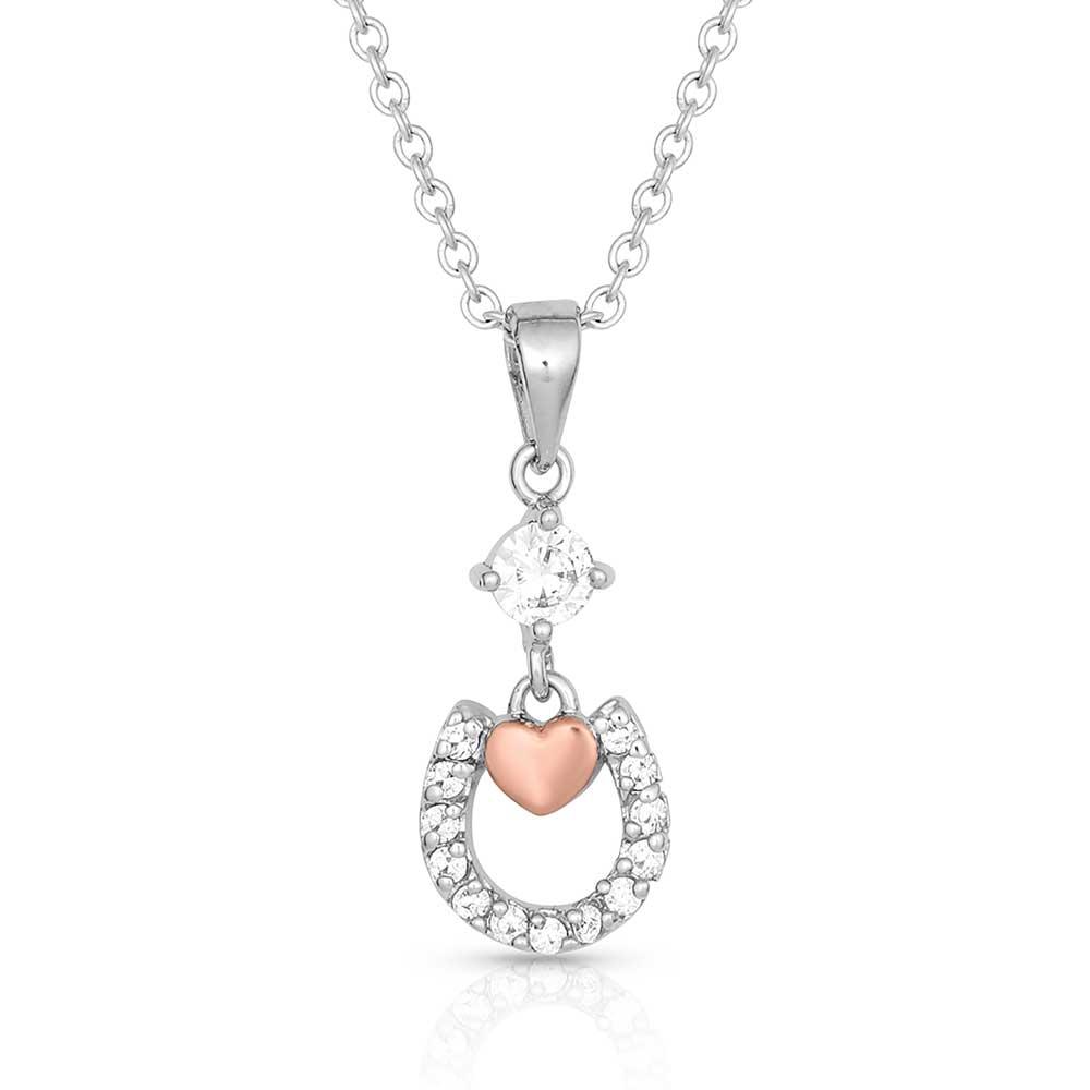 Hoofprints On My Heart Horseshoe Necklace
