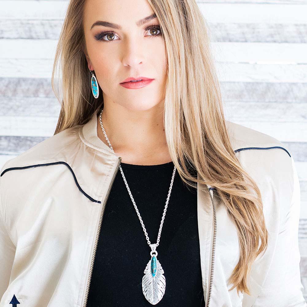 Santa Fe Ruffled Feather Turquoise Necklace