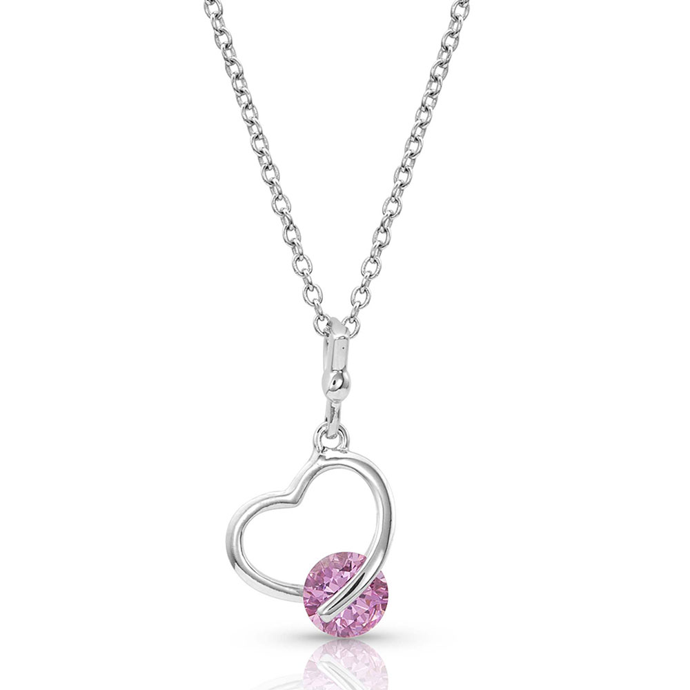 A Drop of Pink Heart Necklace