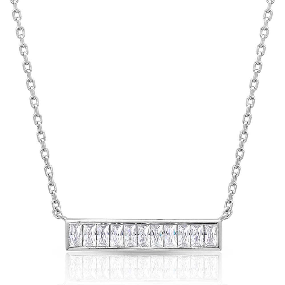 Clear Row Bar Pendant Necklace