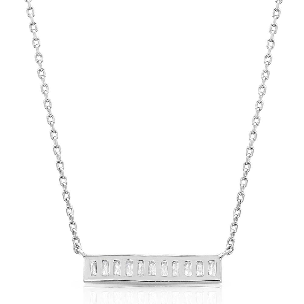 Clear Row Bar Pendant Necklace