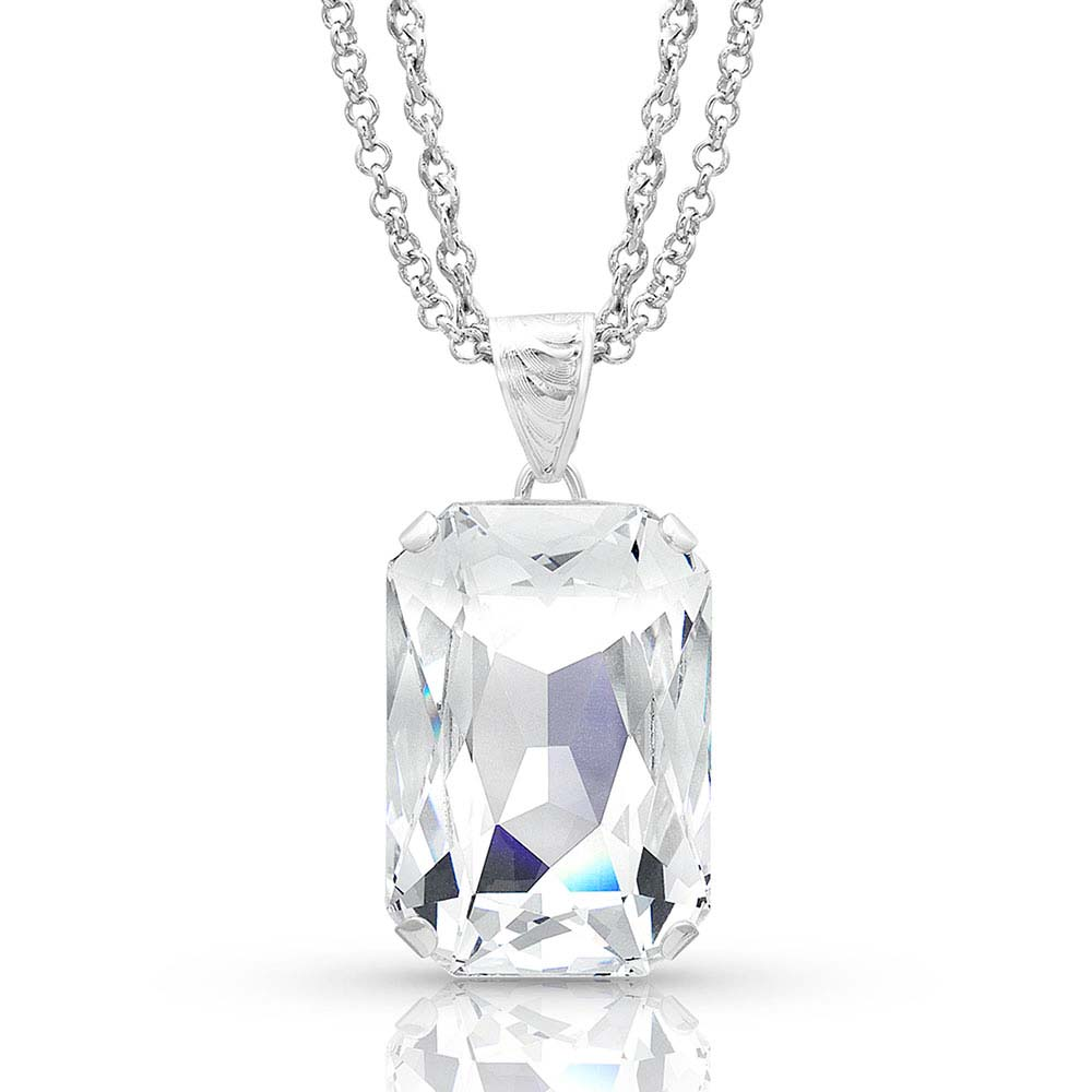 Never Settle Clear Emerald Crystal Necklace