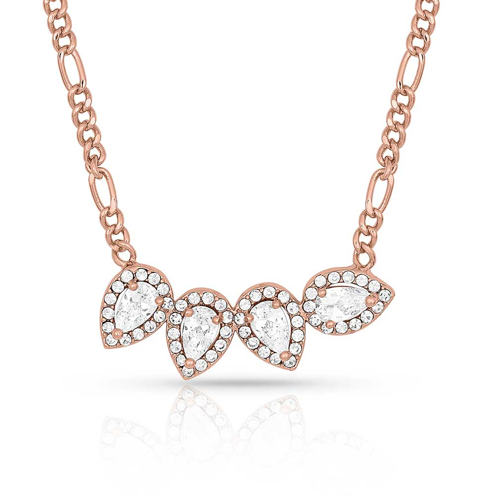Rose Gold Teardrop Bar Necklace