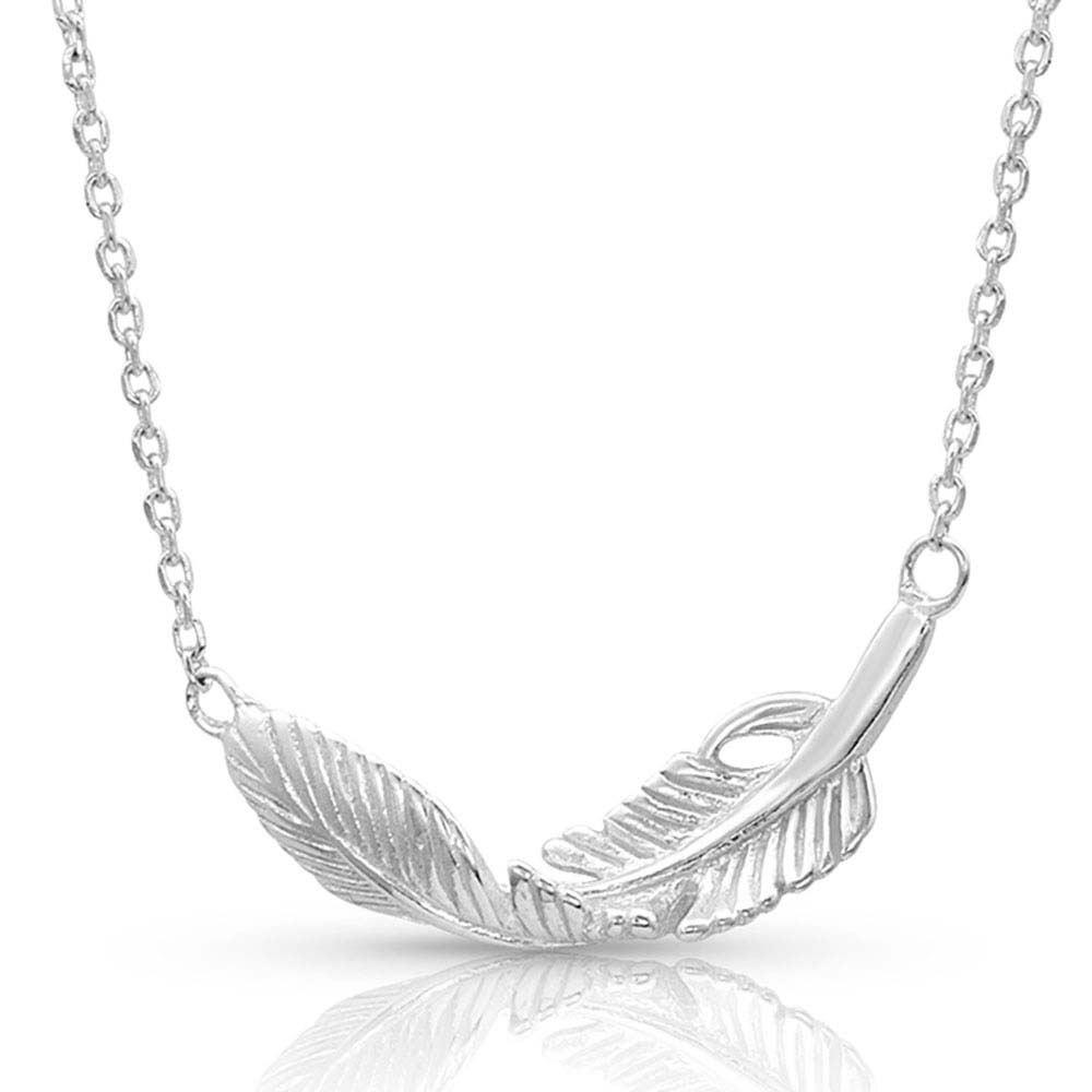 Turning Feather Pendant Necklace
