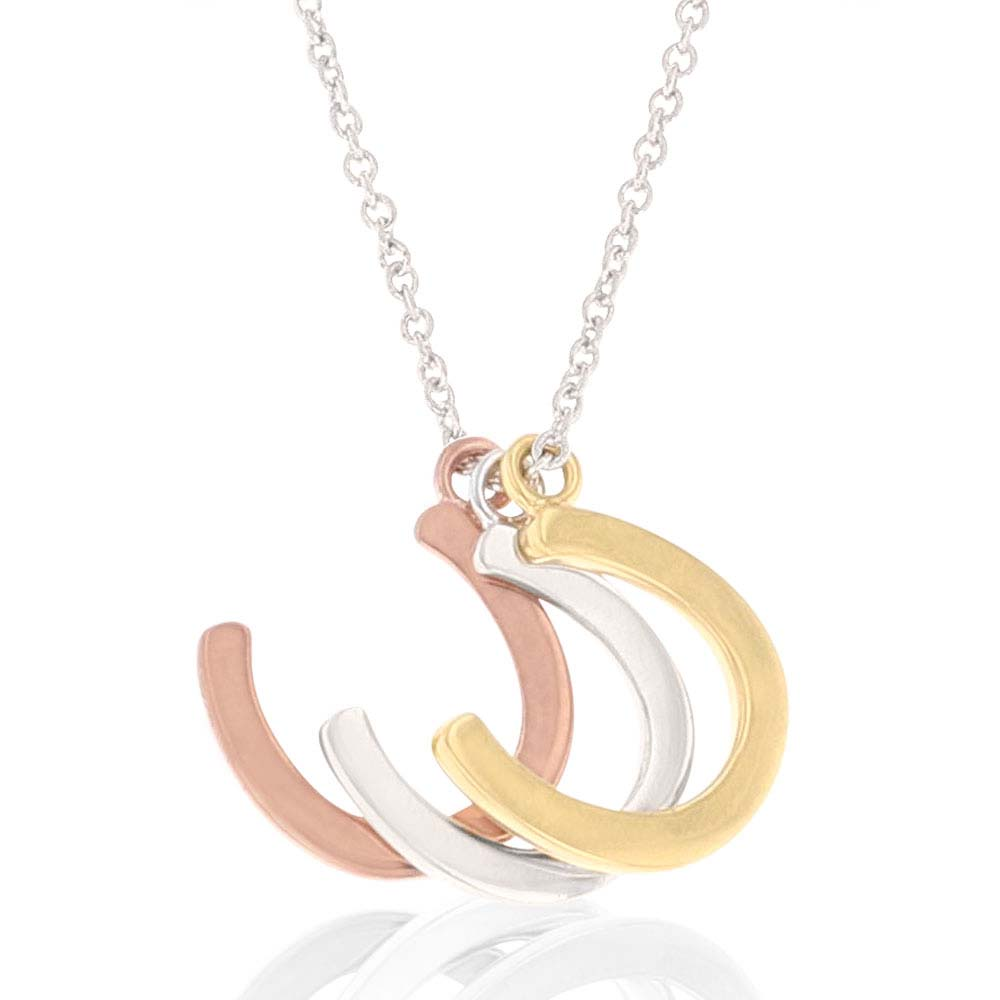 Trio Horseshoe Shadow Charm Necklace