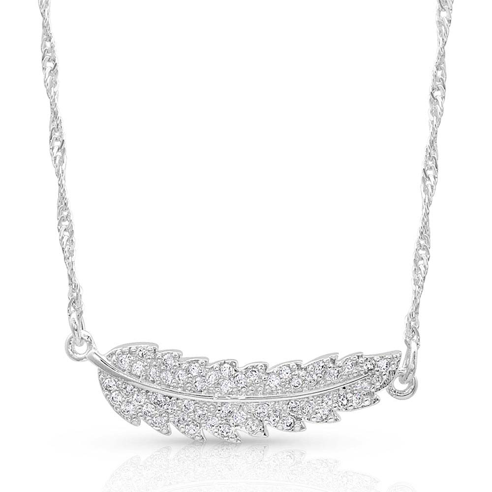 Curved Feather Glitter Necklace