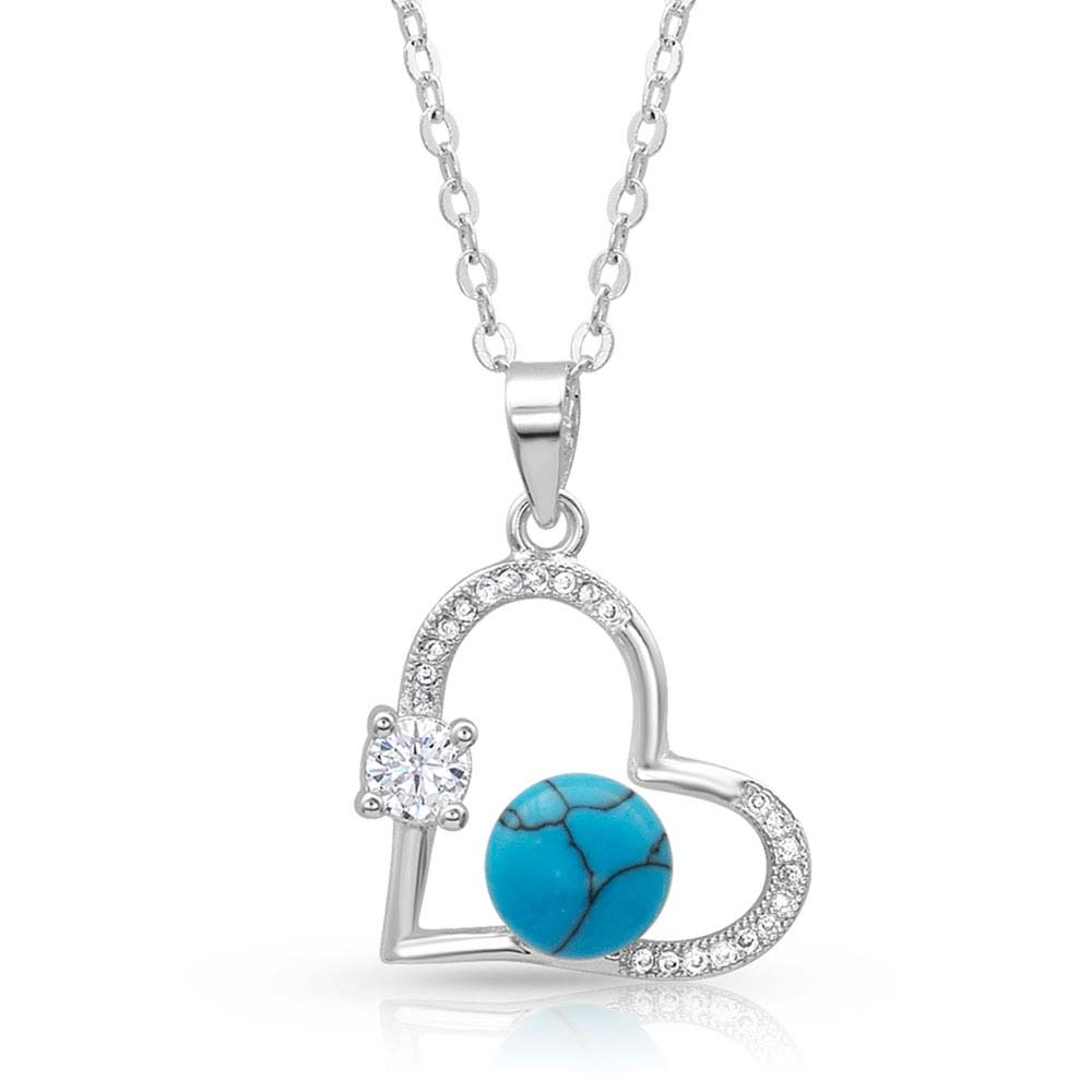 Open Heart Turquoise Pearl Necklace