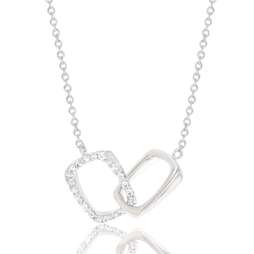 Minimal Double Square Stirrup Necklace
