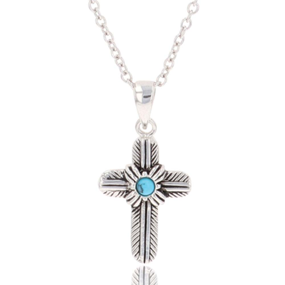 Feathered Cross Turquoise Center Necklace